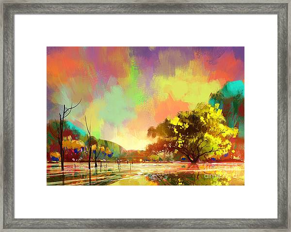 Framed Print featuring the painting Colorful Natural by Tithi Luadthong
