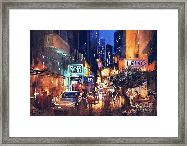 Framed Print featuring the painting Colorful Night Street by Tithi Luadthong