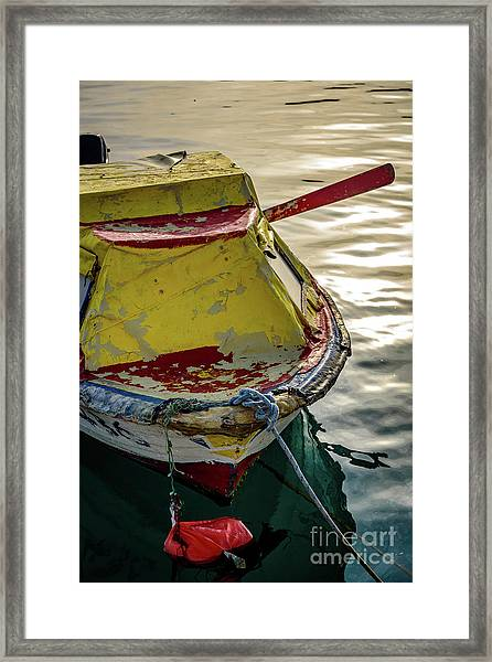 Colorful Old Red And Yellow Boat During Golden Hour In Croatia Framed Print