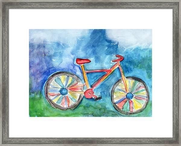 Colorful Ride- Bike Art By Linda Woods Framed Print