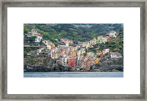 Colorful Riomaggiore Village At Cinque Terre, Italy Framed Print