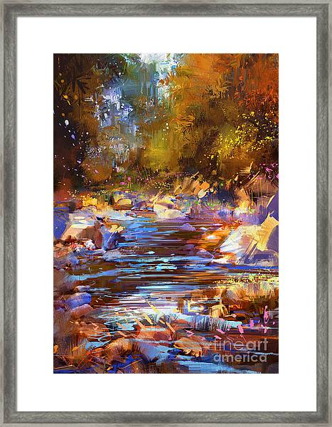 Framed Print featuring the painting Colorful River by Tithi Luadthong
