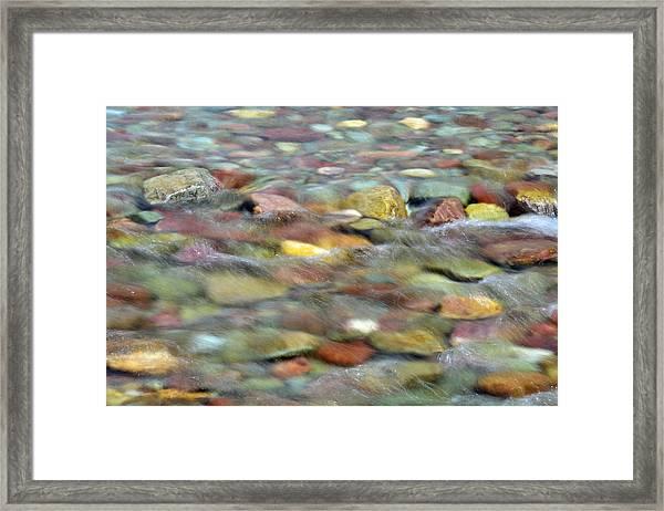 Colorful Rocks In Two Medicine River In Glacier National Park Framed Print