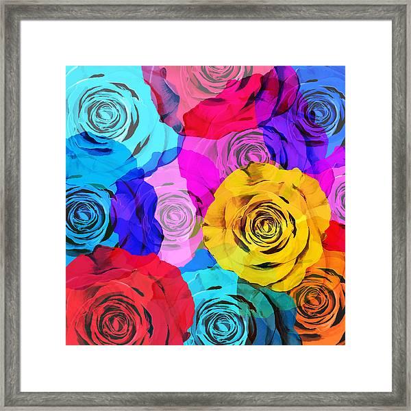 Colorful Roses Design Framed Print