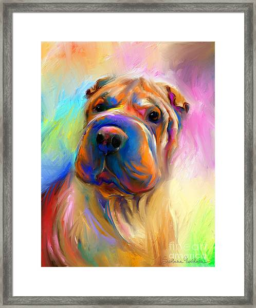 Colorful Shar Pei Dog Portrait Painting  Framed Print