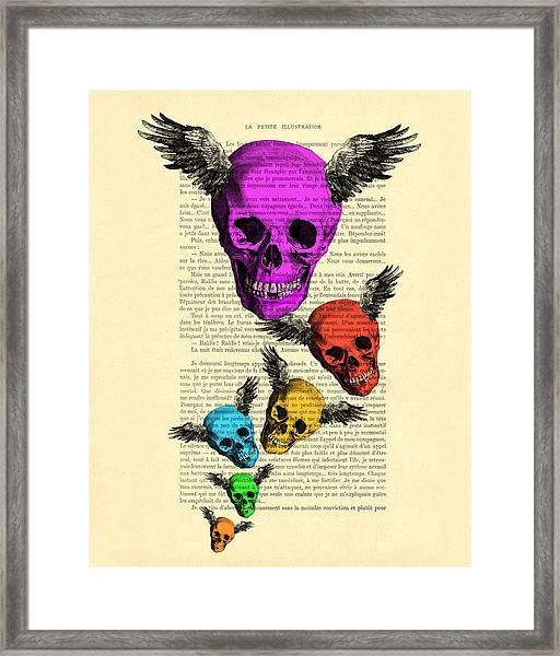 Colorful Rainbow Skull With Wings Illustration On Book Page Framed Print