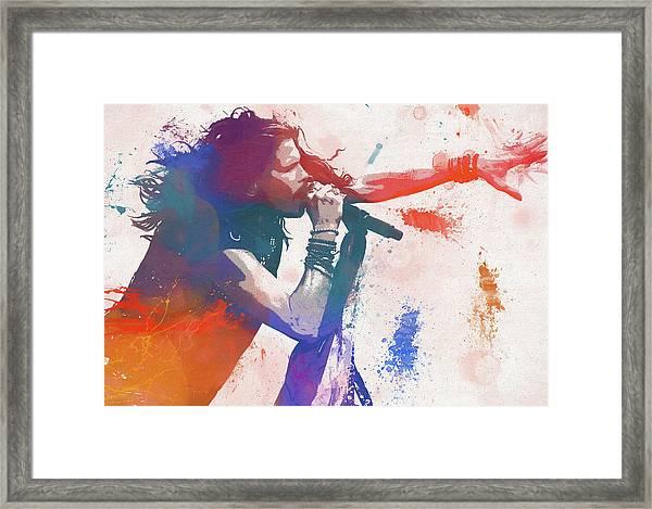 Colorful Steven Tyler Paint Splatter Framed Print