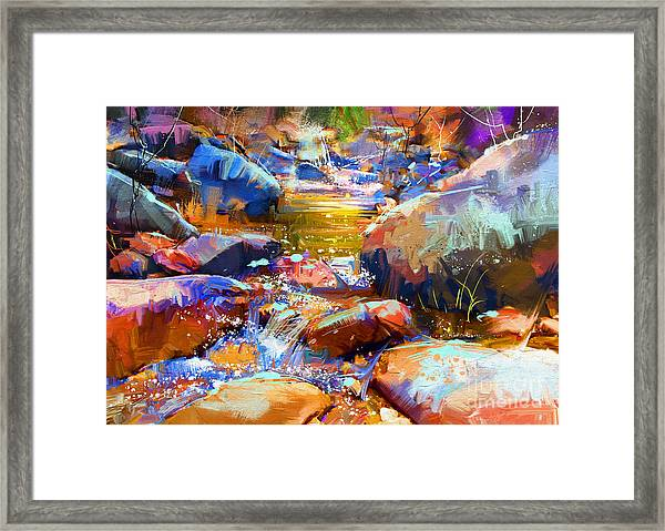 Framed Print featuring the painting Colorful Stones by Tithi Luadthong