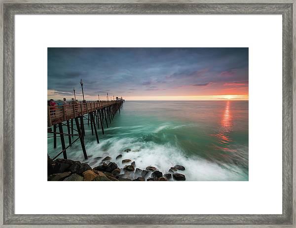 Colorful Sunset At The Oceanside Pier Framed Print