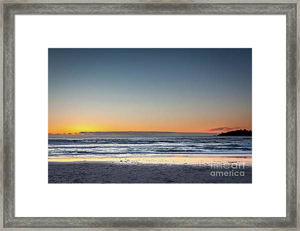 Colorful Sunset Over A Desserted Beach Framed Print