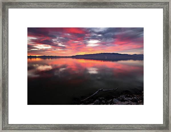 Colorful Utah Lake Sunset Framed Print