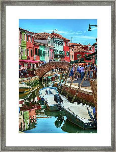 Colorful View In Burano Framed Print