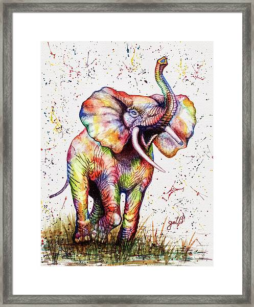 Colorful Watercolor Elephant Framed Print