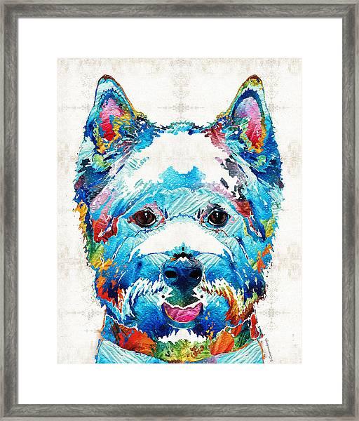 Colorful West Highland Terrier Dog Art Sharon Cummings Framed Print