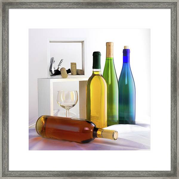 Colorful Wine Bottles Framed Print