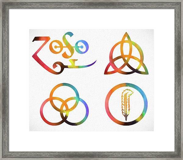 Colorful Zoso Symbols Framed Print