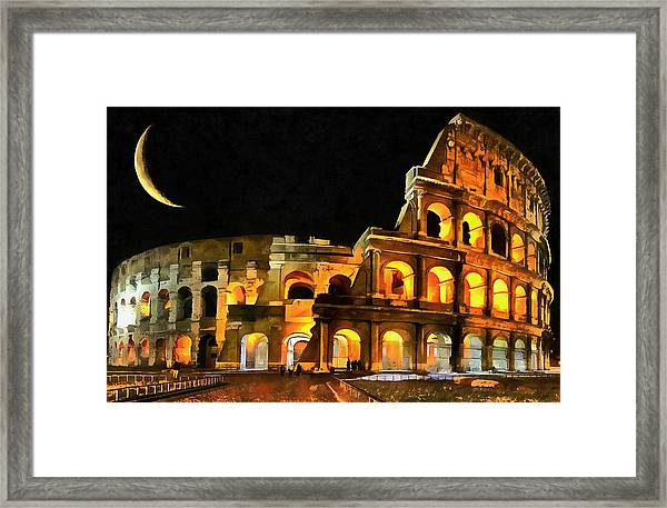 Colosseum Under The Moon Framed Print