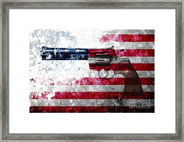 Colt Python 357 Mag On American Flag Framed Print