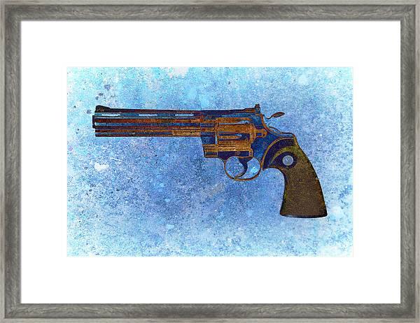 Colt Python 357 Mag On Blue Background. Framed Print