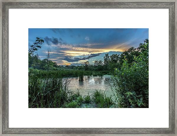 Columbia Marsh Sunset Framed Print