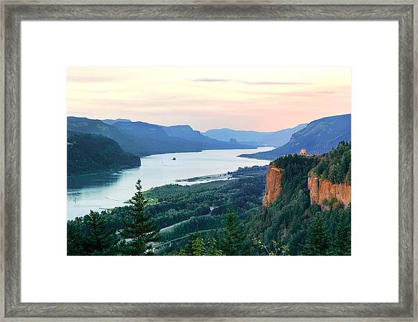 Columbia River With Vista House Framed Print