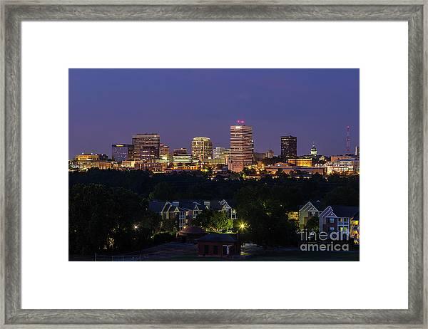 Columbia Skyline At Twilight Framed Print