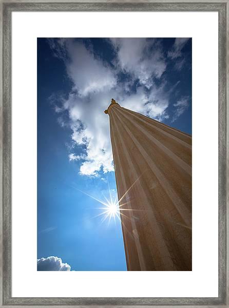 Framed Print featuring the photograph Column To Sky by Ibrahim Azaga