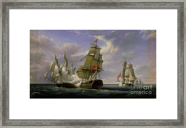 Combat Between The French Frigate La Canonniere And The English Vessel The Tremendous Framed Print