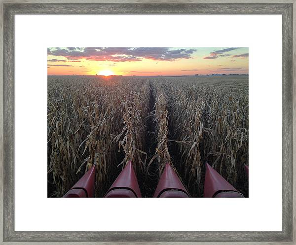 Framed Print featuring the photograph Combine Sunset H by Dylan Punke