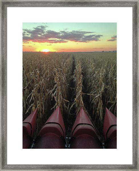 Framed Print featuring the photograph Combine Sunset V by Dylan Punke