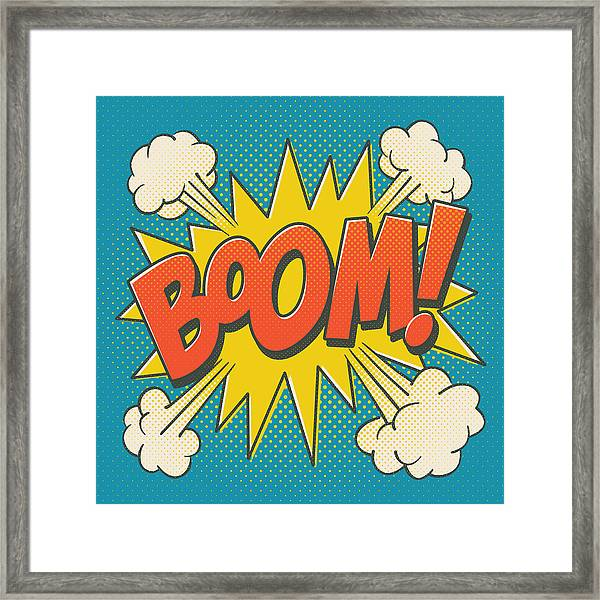 Comic Boom On Blue Framed Print