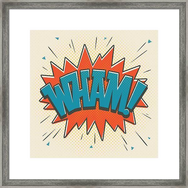 Comic Wham On White Framed Print