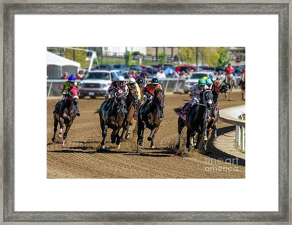 Coming Around The Turn Framed Print