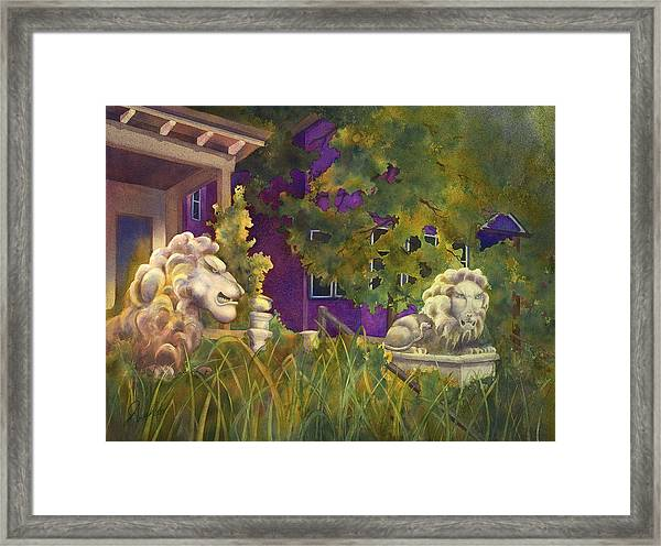 Complaining Lions Framed Print