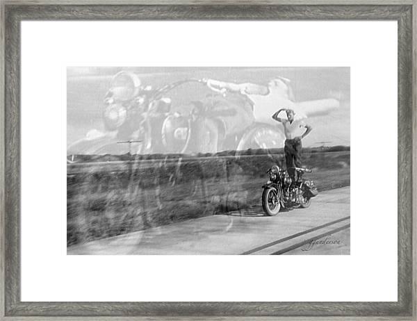 Composite Of 2 Old Harley Davidson Photographs Framed Print