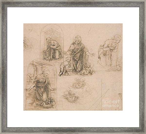 Compositional Sketches For The Virgin Adoring The Christ Child Framed Print