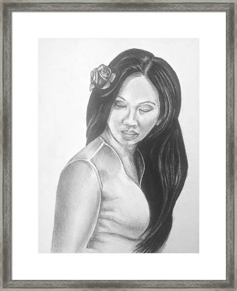 Long Hair Asian Lady With Rose In Sorrow Charcoal Drawing  Framed Print