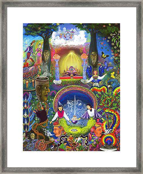 Framed Print featuring the painting Concentracion Palistica by Pablo Amaringo