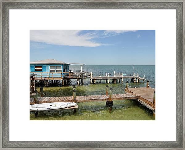 Conch Key Blue Cottage Framed Print