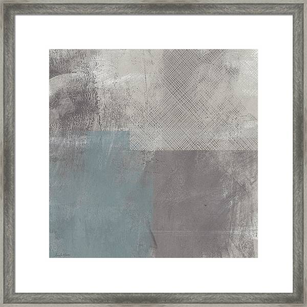 Concrete 3- Contemporary Abstract Art By Linda Woods Framed Print