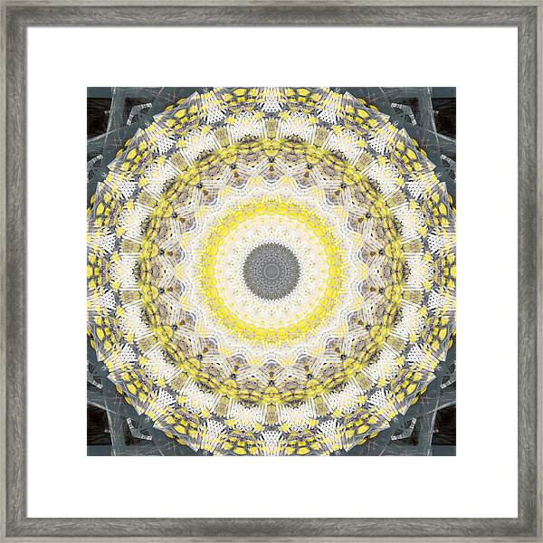 Concrete And Yellow Mandala- Abstract Art By Linda Woods Framed Print
