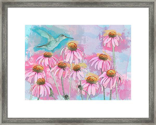 Framed Print featuring the photograph Coneflower Hummingbird Watercolor by Patti Deters