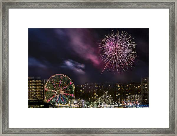 Framed Print featuring the photograph Coney Island Fireworks by Susan Candelario