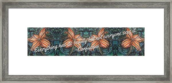 Confucius Beauty  Framed Print