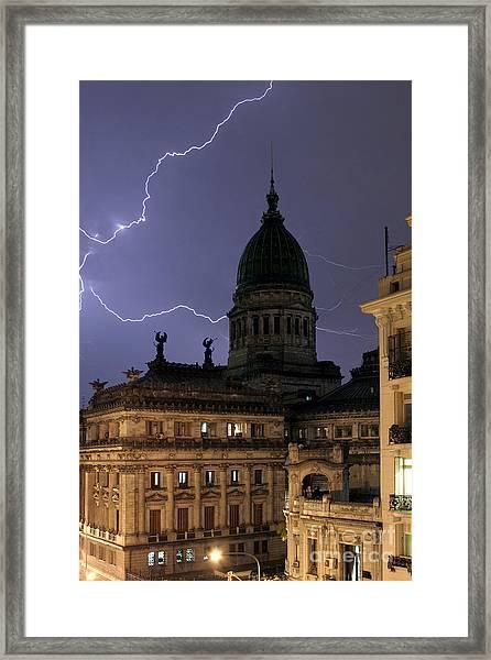 Congreso Lightning Framed Print