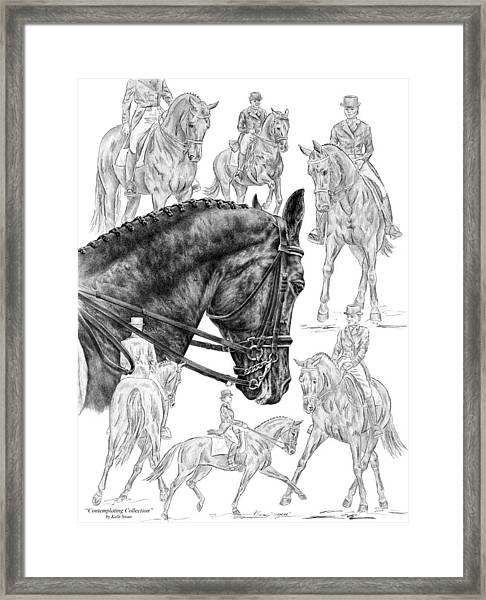 Contemplating Collection - Dressage Horse Drawing Framed Print