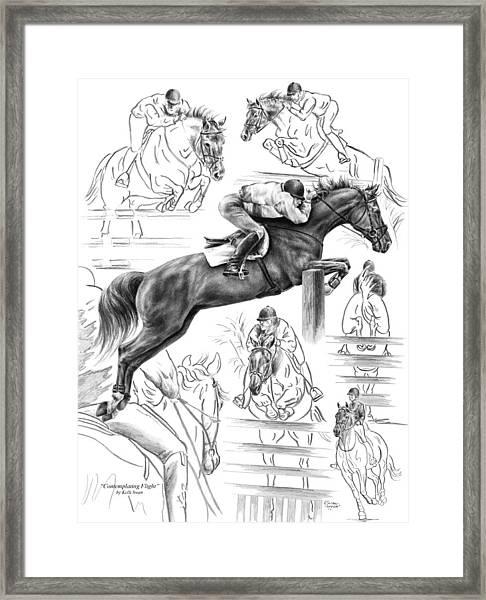 Contemplating Flight - Jumper Horse Drawing Framed Print