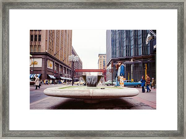 Contemplating The Fountain At 8th And Nicollet. Framed Print