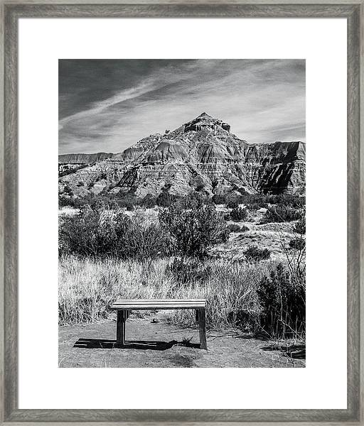 Contemplation Bench Bw Framed Print