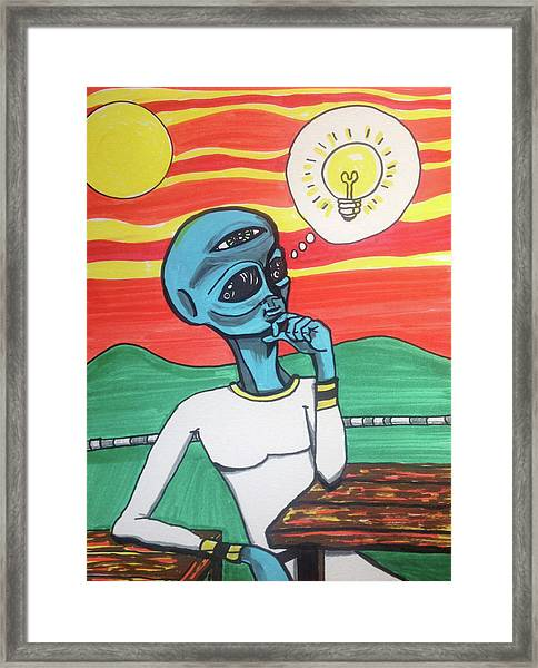 Contemplative Alien Framed Print